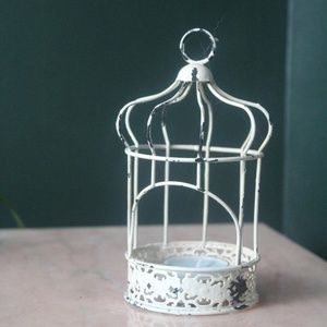 vtg 90s rustic farm bird cage candle holder